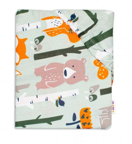 Baby Nellys Bavlnené prestieradlo 70x140 - Zvieratká z lesa, khaki