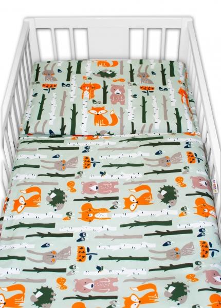 Baby Nellys 2 - dielne bavlnené obliečky - Zvieratká z lesa, khaki, 135x100 cm