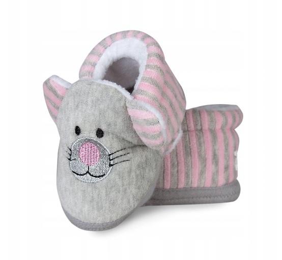 Topánočky / capáčky RISOCKS Kočička s ružovými prúžkami - šedá