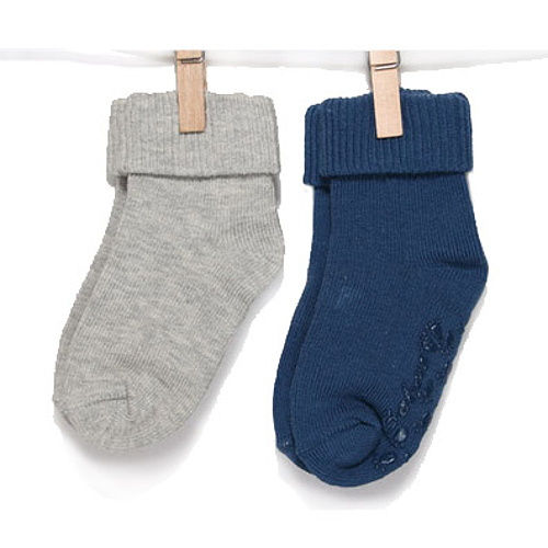 BOBO BABY Dojčenské ponožky 2 páry - sivá, modrá, veľ. 11-13 cm