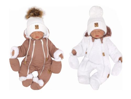 Z & Z Zimná obojstranná kombinéza s kapucňou + rukavičky, hnedo-biela
