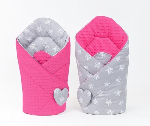 Mamo Tato Obojstranná zavinovačka Minky Baby - Starmix, tm. ružová
