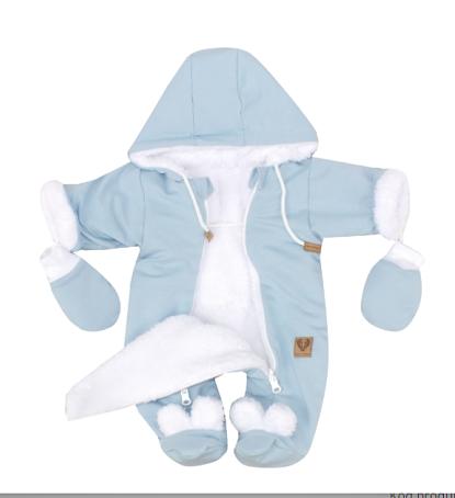 Zimná obojstranná kombinéza s kapucňou + rukavičky, modro-biela, veľ 56