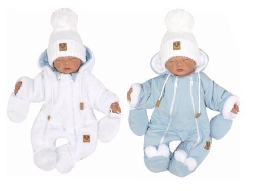 Z & Z Zimná obojstranná kombinéza s kapucňou + rukavičky, modro-biela, veľ. 68