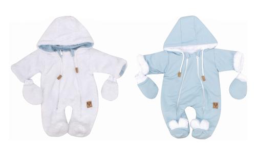 Zimná obojstranná kombinéza s kapucňou + rukavičky, modro-biela, veľ. 68