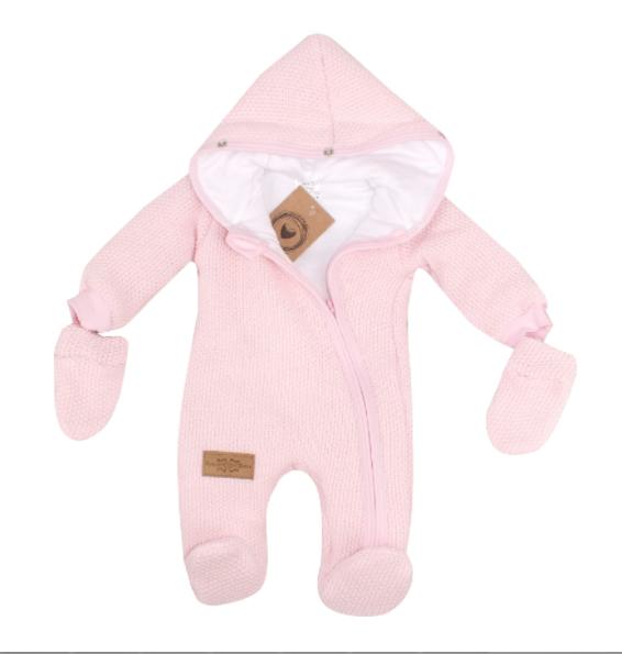 Zimná kombinéza s kapucňou a kožušinou + rukavičky, ružová, veľ. 62