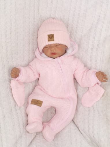 Zimná kombinéza s kapucňou a kožušinou + rukavičky, ružová, veľ. 68