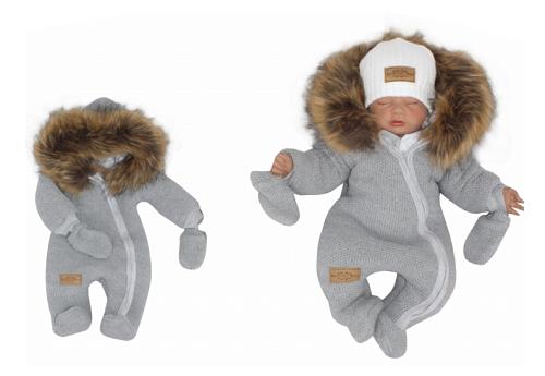 Z & Z Zimná kombinéza s kapucňou a kožušinou + rukavičky, sivá, veľ. 62