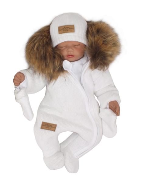 Z & Z Zimná kombinéza s kapucňou a kožušinou + rukavičky, biela