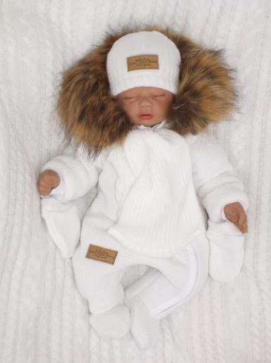 Zimná kombinéza s kapucňou a kožušinou + rukavičky, biela, veľ. 62