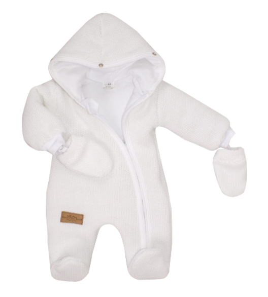 Zimná kombinéza s kapucňou a kožušinou + rukavičky, biela, veľ. 68