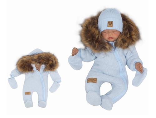 Z & Z Zimná kombinéza s kapucňou a kožušinou + rukavičky, modrá, veľ. 62