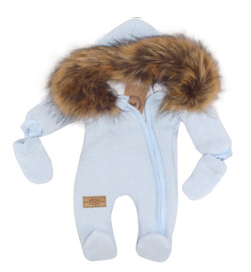 Zimná kombinéza s kapucňou a kožušinou + rukavičky, modrá, veľ. 62