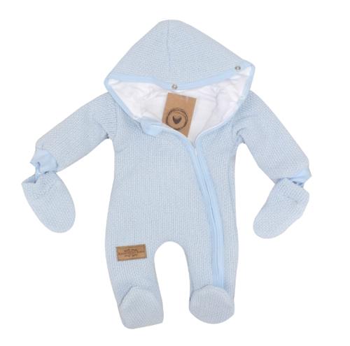 Zimná kombinéza s kapucňou a kožušinou + rukavičky, modrá, veľ. 68