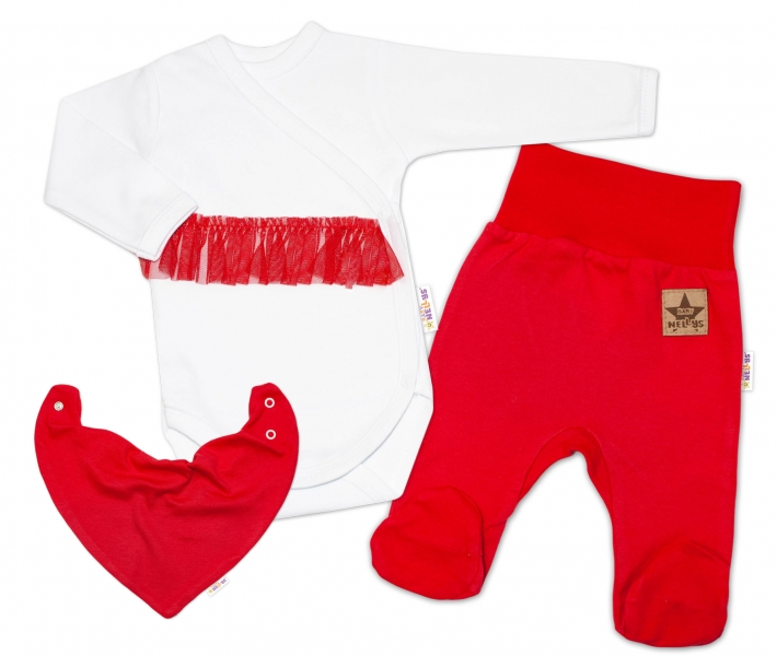 Kojenecká 3-dielna sada Body dlhý rukáv s tutu, šatka, polodupačky, červená, biela, veľ 50