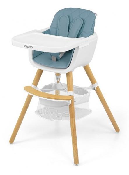 Milly Mally Luxusný jedálenský stolček, kresielko Espoo 2v1. modrá