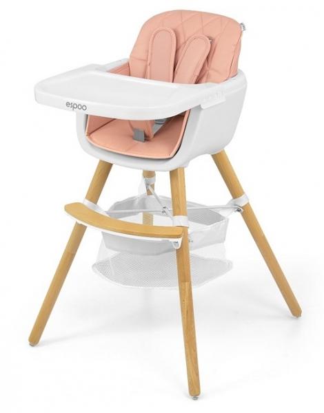 Milly Mally Luxusný jedálenský stolček, kresielko Espoo 2v1, ružová