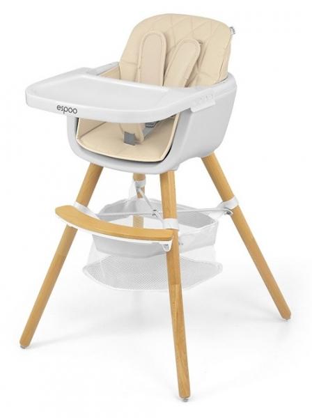 Milly Mally Luxusné jedálenský stolček, kresielko Espoo 2v1, bezová