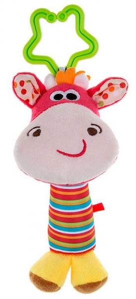 Akuku Plyšová hračka, hrkálka Žirafka, ružová
