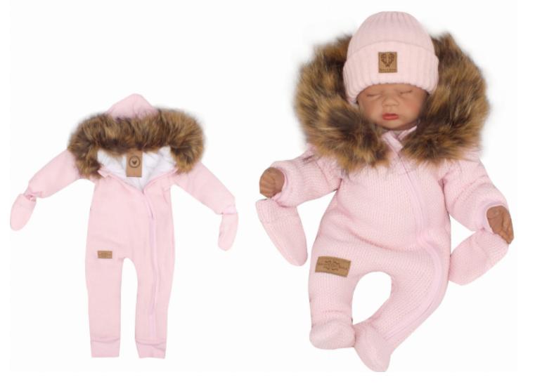 Z & Z Zimná kombinéza s kapucňou a kožušinou + rukavičky, ružová, veľ. 74