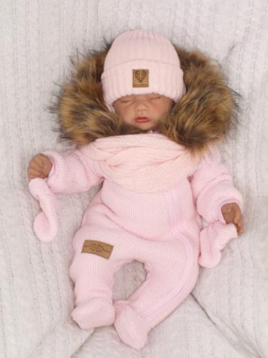 Zimná kombinéza s kapucňou a kožušinou + rukavičky, ružová, veľ. 74