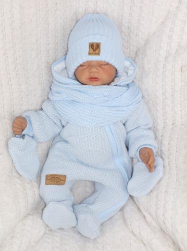 Zimná kombinéza s kapucňou a kožušinou + rukavičky, modrá, veľ. 74