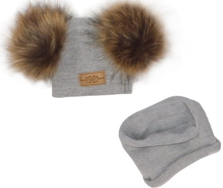 Z&Z Zimná čiapka s brmbolcami z kožušinky + komín, sivá, veľ. 34-40 cm