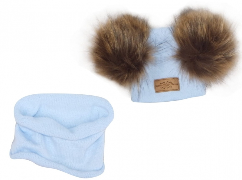 Z&Z Zimná čiapka s brmbolcami z kožušinky + komín, modrá