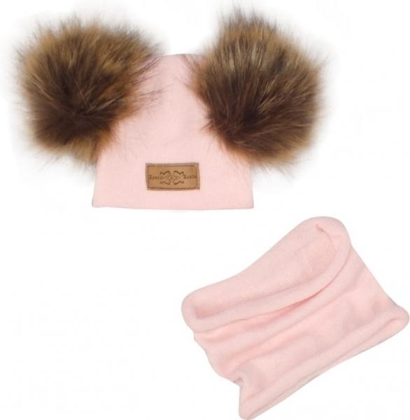 Z&Z Zimná čiapka s brmbolcami z kožušinky + komín, světlo ružová