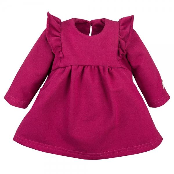 EEVI Dievčenské šaty s volánikmi - bordó, veľ. 80