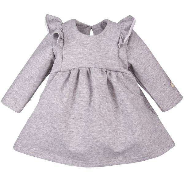 EEVI Dievčenské šaty s volánikmi - šedé, veľ. 92