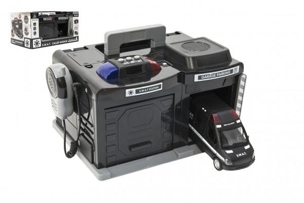 Garáž polícia / swat + auto 15 cm na batérie so svetlom so zvukom v krabici 37x20x24,5cm