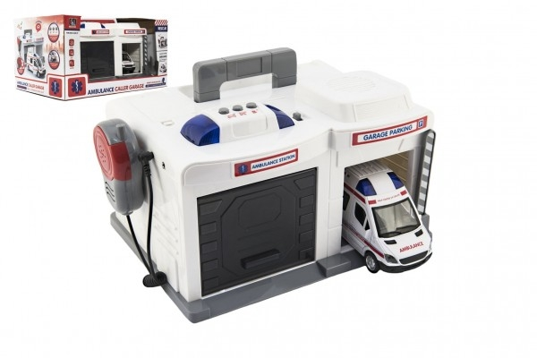 Garáž + auto ambulancie 15 cm plast na batérie so svetlom so zvukom v krabici 37x20x2cm