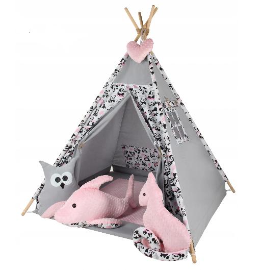 Baby Nellys Stan pre deti típí s veľkou výbavou Sova - šedý, růžový