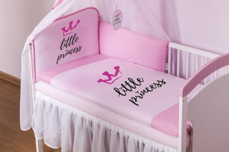 Baby Nellys 4-dielna sada mantinel s obliečkami Little Princess + nebesá, ružová, 135x100