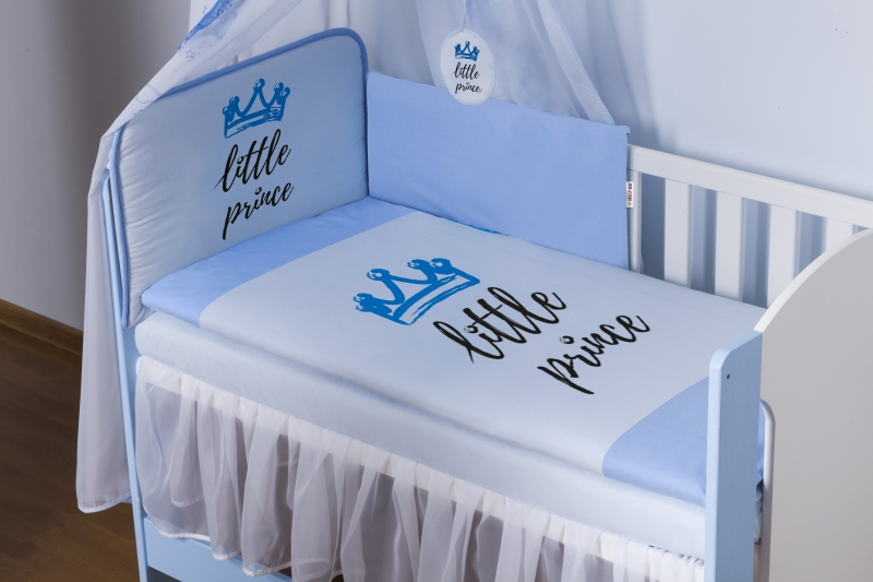 Baby Nellys 4-dielna sada mantinel s obliečkami Little Prince + nebesá, modrá. 135x100