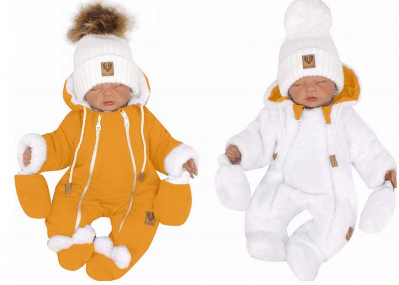 Z & Z Zimná obojstranná kombinéza s kapucňou + rukavičky, horčicová-biela, veľ. 68