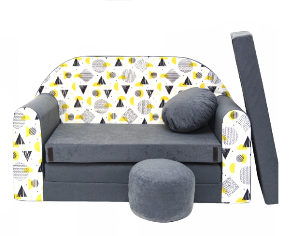 Rozkladacia detská pohovka Nellys ® AJ3 - tvary, sivá /biela