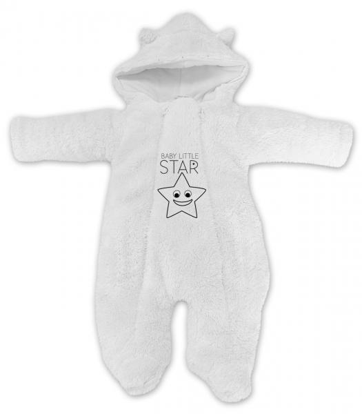 Baby Nellys Zimné chlupáčková kombinézka Little STAR, biela