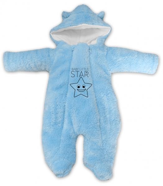Baby Nellys Zimné chlupáčková kombinézka Little STAR, sv. modrá, veľ. 74
