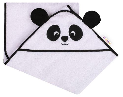 Baby Nellys Froté osuška s kapucňou 80x80cm Panda - biela
