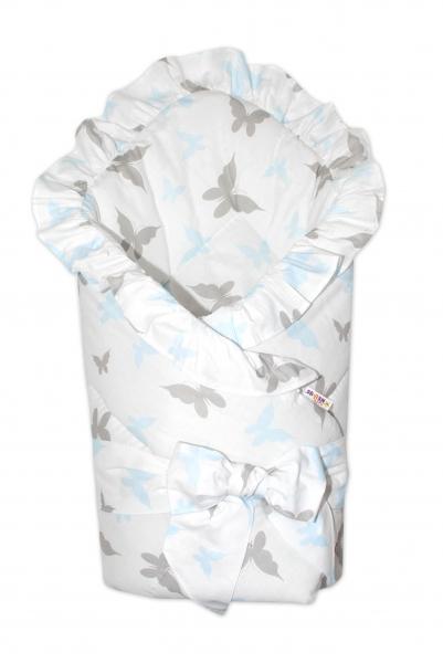 Baby Nellys Rýchlozavinovačka 80x80cm s volánikom a stuhou - motýle, modrá/sivá
