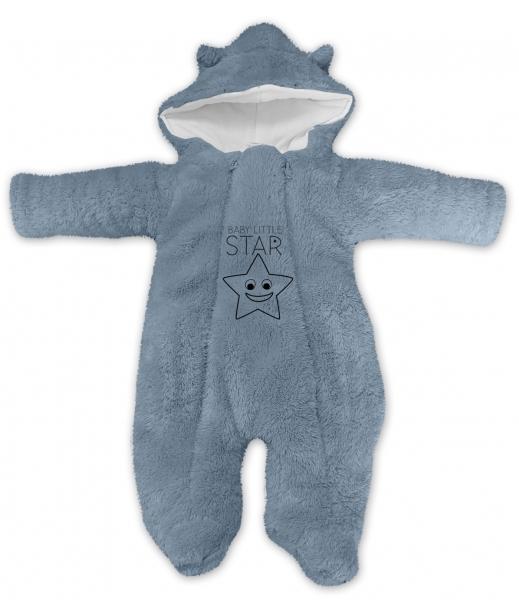 Baby Nellys Zimné chlupáčková kombinézka Little STAR, sivá, veľ. 62-#Velikost koj. oblečení;62 (2-3m)