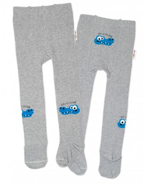 Baby Nellys Detské pančuchy bavlnené Crocodiles - šedá, modrá, 1ks, veľ. 92/98-#Velikost koj. oblečení;92/98