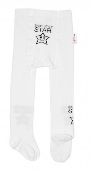 Detské pančuchy bavlnené Baby LITTLE STAR, biele, veľ 62-74
