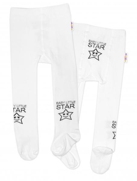 Baby Nellys Detské pančuchy bavlnené Baby LITTLE STAR, biele, 1ks, veľ. 92/98