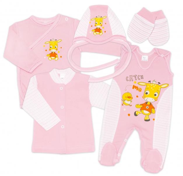 Gama 5-dielna súpravička do pôrodnice - růžová, mix. vzorov, veľ. 62