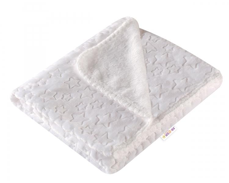 Baby Nellys Luxusná velurová detská deka LITTLE STAR - biela