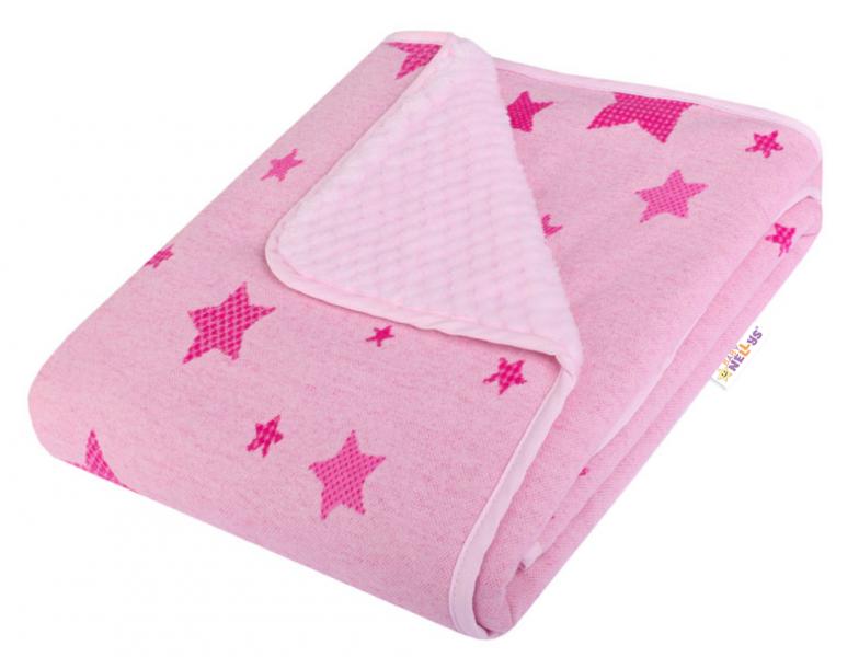 Baby Nellys Dětská Dual deka s minky, hvEzdičky - ružová