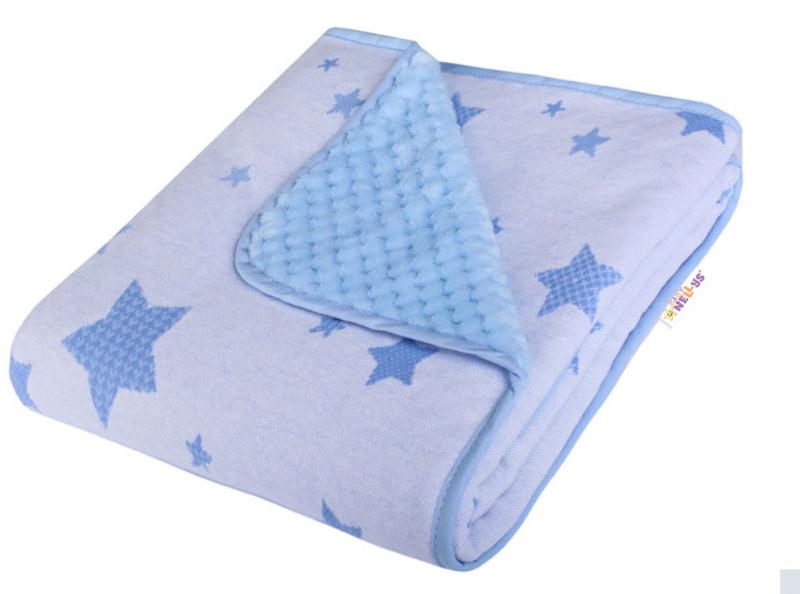 Baby Nellys Dětská Dual deka s minky, hvEzdičky - modrá